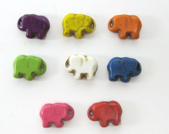 15mm Howlite Elephant Beads Set of Eight