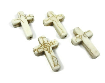 4 Large White Howlite Cross Beads