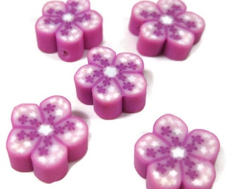 12mm Polymer Clay Flower Beads with Stars in Pink Set of 5