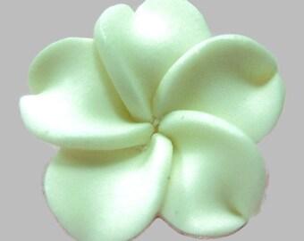 21mm White Polymer Clay Plumeria Flower Beads set of 4 (P03)