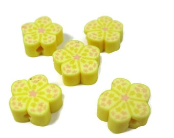 12mm Polymer Clay Flower Beads with Stars in Yellow Set of 5