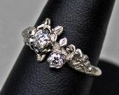 Diamond rose ring in 14K white palladium gold with diamonds