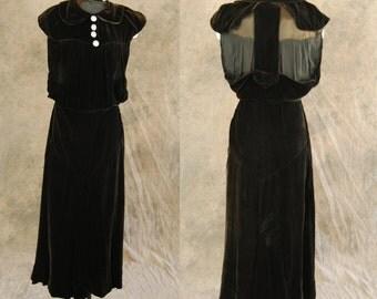 vintage 30s Racerback Dress - Brown Velvet Backless Dress 1930s Velvet Maxi Gown Sz XS S