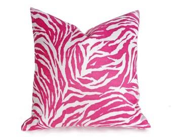 Zebra Pillow Covers, Pink Throw Pillows, Zebra Print Pillow, Animal Print Pillows, Girls Bed Pillows, Spring Decor, 12x18, 16x16, 18x18 SALE