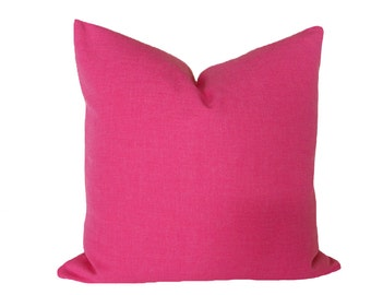 Solid Pink Pillow Cover, 18x18, Bright, Bold, Pink Throw Pillows, Decorative Cushion Covers, Teen Girls Bedroom Pillows