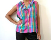 French Vintage Pink Checkered Ruffled Blouse