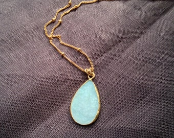 Blue Druzy Necklace on a Gold Chain