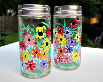 Salt and Pepper Shakers, Hand Painted, Colorful Flowers, Glass Salt and Pepper Shakers