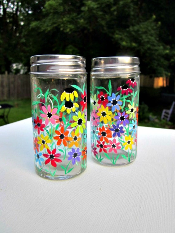 Salt and pepper shakers hand painted colorful flowers glass Colorful salt and pepper shakers