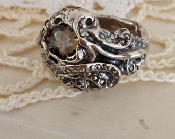 sea creature , fine silver octopus, kracken with random quartz, artisan crafted ring