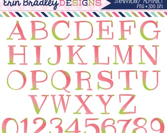 Strawberry Clipart Alphabet Instant Download Commercial Use Clip Art Alpha for Digital Scrapbooking