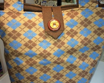 Brown and Blue Argyle Mavis Knitting Tote