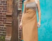 Asymmetrical cut Tank dress in Japanese wool knit • Merino knit yellow and bronze stripe