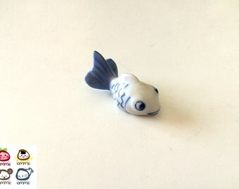 Miniature Ceramic Fish, miniature fish, miniature fish, white, blue, fish figurine, terrarium, clay, miniature fish, tiny, small, fish