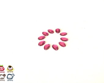 Bright Pink Bead, beads, oval, gem, gems, gem beads, shocking pink, plastic, craft, crafting, supplies, crystal-like, small, set of 10