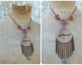 Parrots French handmade  fringed bird & flowers necklace