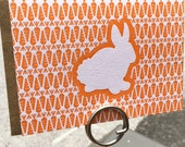 Letterpress Note Card Set - Bunny with Carrot Background (set of 6)