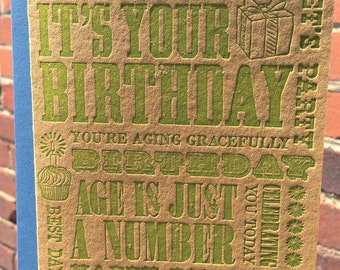 Letterpress Happy Birthday Card - *NEW* Wooden Type Collection