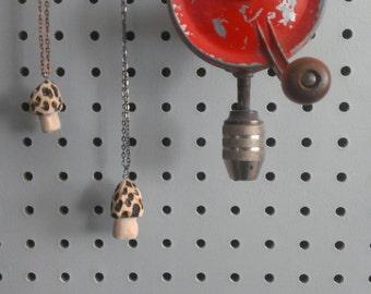 little morel mushroom necklace /woodland jewelry