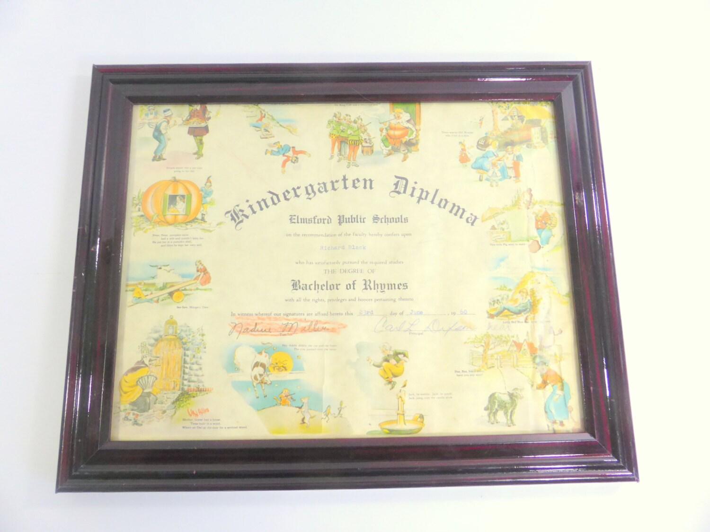 Vintage kindergarten diploma elmsford public by vivalasvintage