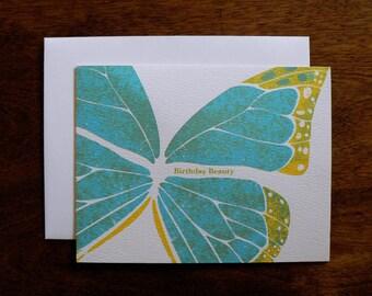 BIRTHDAY : Birthday Beauty Butterfly Card, Blue