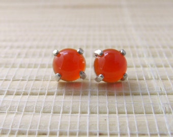 Carnelian Stud Sterling Silver Earrings 6mm