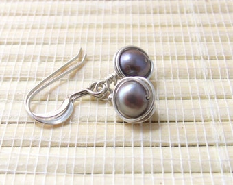 Wire Wrapped Pearl Earrings Dangle Sterling Silver