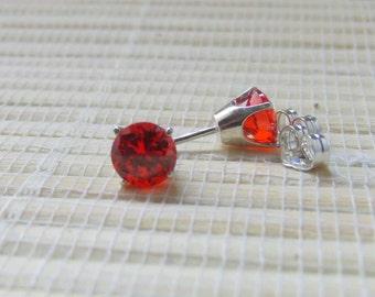 Orange Cubic Zirconia Stud Sterling Silver Earrings Lab Created 6mm