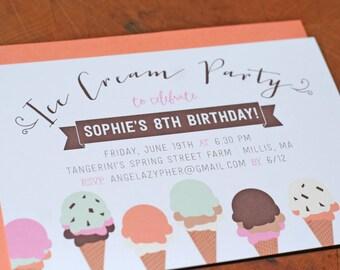 Ice Cream Birthday Party Invitations (in Three Colorways), Set of 10