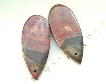 Picasso Jasper Elongated Polished Briolette Pair