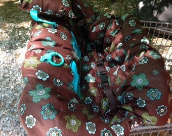 Shopping Cart covers READY TO SHIP turquoise and brown with damask back