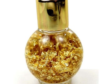 24k Genuine Gold Flakes Floating Brazilian Glass Bottle Display 45x30mm (e7343)