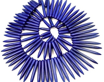 "20-48mm Cobalt Blue Turquoise Graduated Spike Beads 18"" (e7360)"