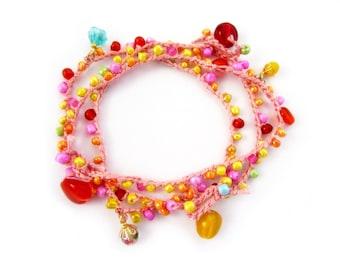 Colorful crochet anklet, summer beach style, crochet beaded anklet, set of 3