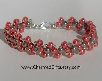 Glass Pearl Bracelet in Cranberry and Silver