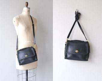 Coach Court saddle bag | vintage black leather Coach purse • black leather bag