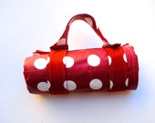 Picnic Blanket- Eco Waterproof Picnic Blanket- Red and White Polka Dots- Nautical Decor