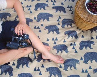 Picnic Blanket ORGANIC- Mountain Bears and Stars on Khaki Brown- Camping Gear, Rustic Decor, Organic Cotton