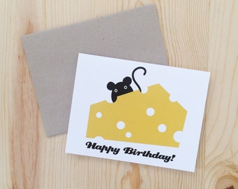 Happy Birthday - Mouse Cheese Birthday Card