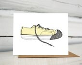 Illustrated sneaker blank greeting card converse chuck taylor keen tennis shoes
