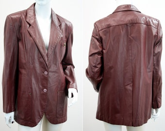 Etienne Aigner Vintage Rust Red Woman's Leather Blazer