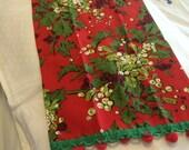 Christmas Tea Towel with Pom Pom Fringe