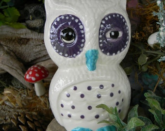 Hootie Owl   . Winking .......Vintage style  barn potter Owl  ... Glazed ceramicVintage Style