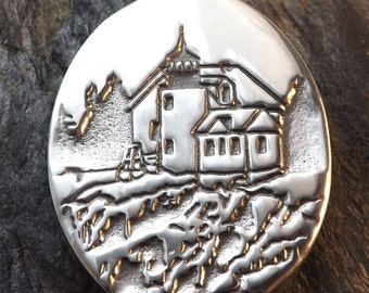Lighthouse - Bass Harbor - Acadia National Park, Tremont, Maine - Pewter Pendant - Seaside, Ocean Jewelry