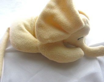 Sleepy Little Baby Elephant Soft Cuddly Yellow Stuffed Animal Nursery Infant Travel Toy Washable Fleece No Buttons From Original Pattern