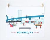 buffalo ny, buffalo, ny, buffalo ny art, canalside buffalo ny, buffalo ny art print, naval museum, kayakers, bikers, artisan market