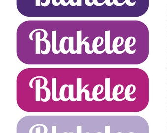 TOTES PURPLE  - TINY waterproof pacifier, bottle, sippy cup labels - set of 64 vinyl name stickers