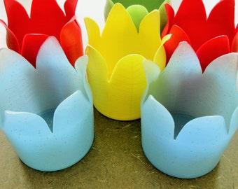 Plastic Drinking Glass Coasters, Vintage Plastic Glass Holders, Patio Ware Midcentury, Tulip Shape Luau Supply, Picnic Supply, Dapol Plastic