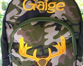 Personalized Boys Deer head camo kids backpack. Appliqued back pack.book bag. Boys school backpack. Diaper bag. Camo baby. camo nursery