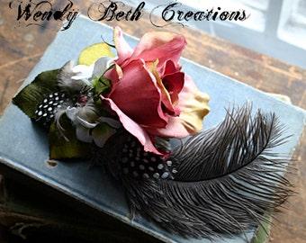 French Rose Hair Clip Fascinator- Fairy, Steampunk, Belly Dance, Hair Garden, ATS, Tribal Fusion, Pin Up Girl
